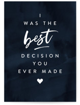 This is a blue anniversary card by Creo Study called the best decision with standard printing on signature in greeting cards.