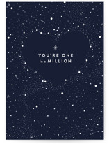 This is a blue anniversary card by Melissa Egan of Pistols called One in a Million with standard printing on signature in greeting cards.