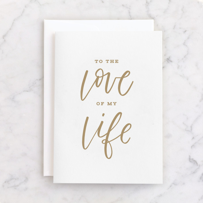 """""""To the Love of My Life"""" - Individual Anniversary Greeting Cards in Gold by Jen Banks of Ink and Letter."""