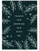 This is a green anniversary card by Roopali called Growing Old with standard printing on signature in greeting cards.