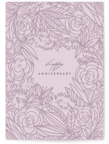 This is a purple anniversary card by Lori Wemple called Garden Blooms with standard printing on signature in greeting cards.