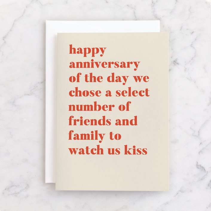 """""""Watch Us Kiss"""" - Individual Anniversary Greeting Cards in Terracotta by Genna Blackburn."""