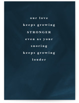 This is a blue anniversary card by Lea Delaveris called Louder with standard printing on signature in greeting cards.
