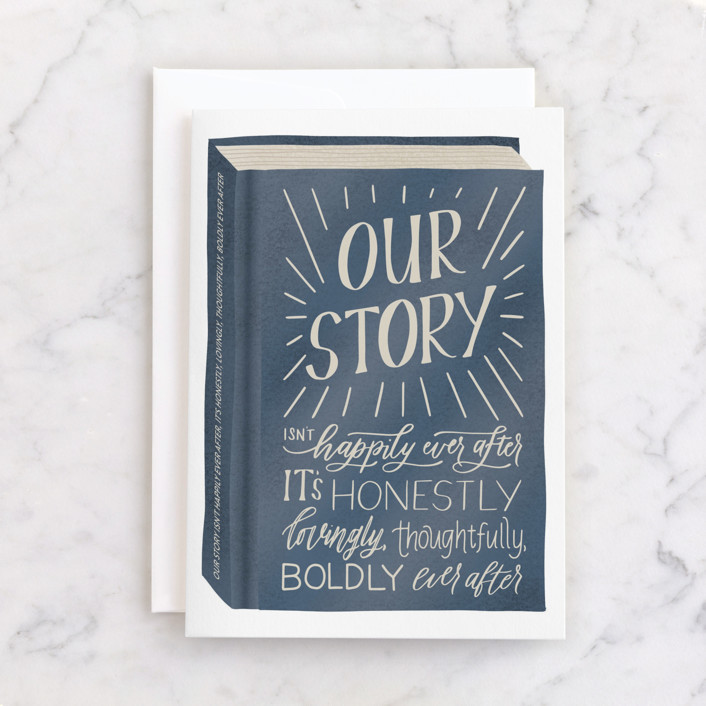 """""""Our Story"""" - Individual Anniversary Greeting Cards in Navy by Carolyn Kach."""