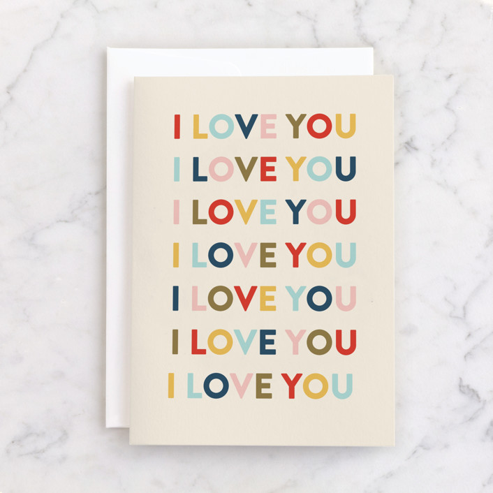 """""""I Love You"""" - Individual Anniversary Greeting Cards in Beige by Pixel and Hank."""