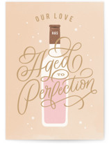 This is a beige anniversary card by Kristen Smith called Aged To Perfection with standard printing on signature in greeting cards.
