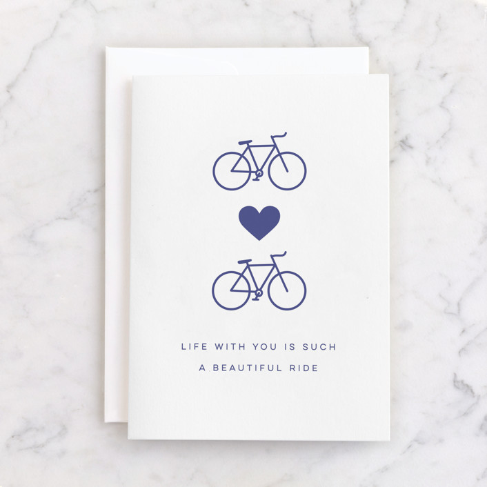 """""""Beautiful Ride"""" - Individual Anniversary Greeting Cards in Blueberry by Everett Paper Goods."""