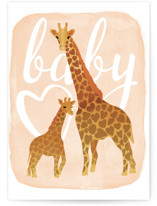 This is a orange new baby greeting card by Jennifer Lew called Baby Giraffe with standard printing on signature in greeting cards.