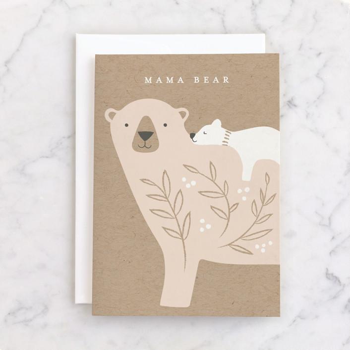"""Mama Bear"" - Individual Baby Greeting Cards in Kraft by Karidy Walker."