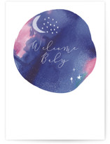This is a purple new baby greeting card by Kanika Mathur called Night night baby with standard printing on signature in greeting cards.