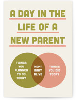This is a green new baby greeting card by Emily Schramm called A Day in the Life with standard printing on signature in greeting cards.