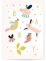 This is a beige new baby greeting card by Eve Schultz called Baby with standard printing on signature in greeting cards.