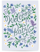 This is a blue new baby greeting card by Paper Raven Co. called Welcome Baby with standard printing on signature in greeting cards.