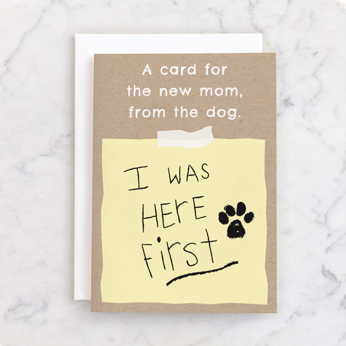 """""""To Mom, From the Dog"""" - Individual Baby Greeting Cards in Sun by Naava Katz."""