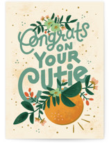 This is a green new baby greeting card by Jamie Bartlett called Congrats on Your Cutie with standard printing on signature in greeting cards.
