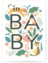This is a colorful new baby greeting card by peetie design called Wild Baby with standard printing on signature in greeting cards.