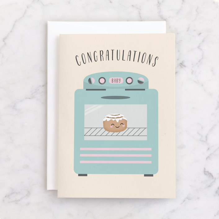 """""""Bun in the Oven"""" - Individual Baby Greeting Cards in Beige by Annie Holmquist."""