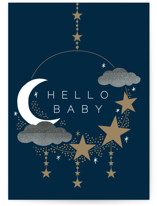 This is a blue new baby greeting card by Alethea and Ruth called Hello Baby Mobile with standard printing on signature in greeting cards.