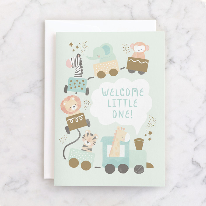 """""""petite train"""" - Individual Baby Greeting Cards in Mint by peetie design."""