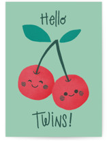 This is a green new baby greeting card by Aaelia Creative Lab. called Cherry pair with standard printing on signature in greeting cards.