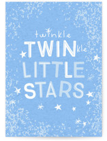 This is a blue new baby greeting card by Baumbirdy called Twinkle Twins with standard printing on signature in greeting cards.