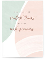 This is a green new baby greeting card by Pixel and Hank called Smallest things with standard printing on signature in greeting cards.