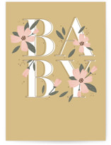 This is a brown new baby greeting card by Susan Zinader called Bloom & Grow with standard printing on signature in greeting cards.