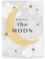 This is a grey new baby greeting card by Angela Garrick called happy moon with standard printing on signature in greeting cards.