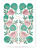 This is a beige new baby greeting card by Katharine Watson called Little Lilypad with standard printing on signature in greeting cards.