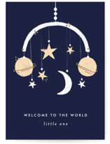 This is a blue new baby greeting card by Bethan called Little Universe with standard printing on signature in greeting cards.