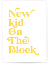 This is a white new baby greeting card by Jackie Crawford called New Kid On The Block with standard printing on signature in greeting cards.