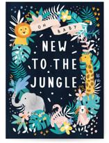 This is a blue new baby greeting card by Cindy Chu called New to the jungle with standard printing on signature in greeting cards.