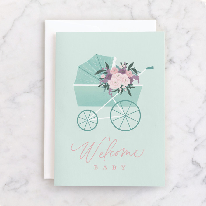 """""""Floral Pram"""" - Individual Baby Greeting Cards in Mint by Everett Paper Goods."""