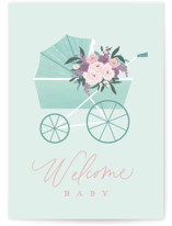 This is a green new baby greeting card by Everett Paper Goods called Floral Pram with standard printing on signature in greeting cards.