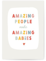This is a grey new baby greeting card by Stacey Meacham called Amazing babies with standard printing on signature in greeting cards.