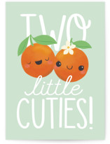 This is a green new baby greeting card by Itsy Belle Studio called Two Little Cuties with standard printing on signature in greeting cards.