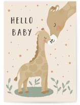 This is a beige new baby greeting card by Christy Hy Lee called mom and baby giraffe with standard printing on signature in greeting cards.