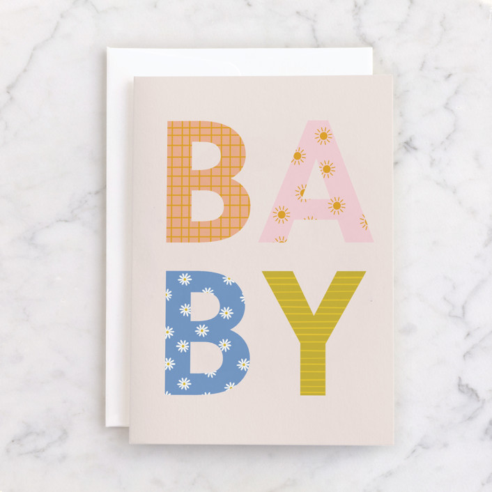 """Baby"" - Individual Baby Greeting Cards in Blush by Ellen Schlegelmilch."