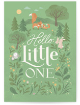 This is a green new baby greeting card by Jennifer Wick called Woodland Baby with standard printing on signature in greeting cards.