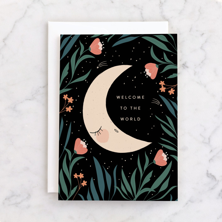 """""""dreaming moon"""" - Individual Baby Greeting Cards in Midnight by Angela Thompson."""