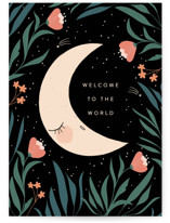 This is a black new baby greeting card by Angela Thompson called dreaming moon with standard printing on signature in greeting cards.