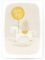 This is a white new baby greeting card by Julie Murray called Riding into a New Chapter with standard printing on signature in greeting cards.