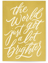 This is a yellow new baby greeting card by Wildfield Paper Co called So Much Brighter with standard printing on signature in greeting cards.