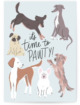 This is a blue greeting card by Everett Paper Goods called Pup Party with standard printing on signature in greeting cards.