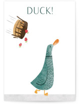 This is a green birthday card by Gila von Meissner called Duck! with standard printing on signature in greeting cards.