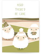 This is a green birthday card by Leanne Friedberg called herd there'd be cake with standard printing on signature in greeting cards.