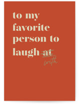 This is a orange greeting card by Lea Delaveris called Laughs with standard printing on signature in greeting cards.