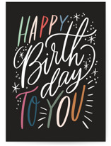 This is a black birthday card by Alethea and Ruth called Birthday lettering with standard printing on signature in greeting cards.