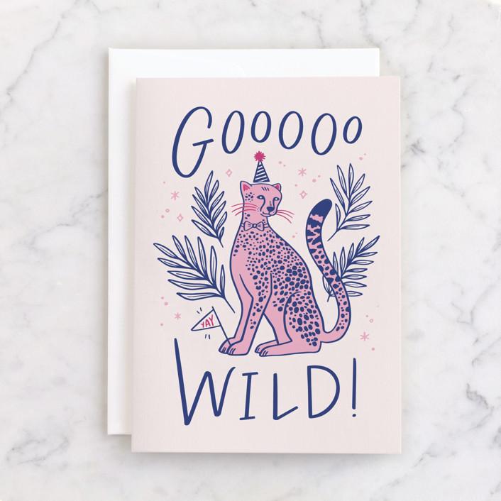 """Goooo Wild"" - Individual Birthday Greeting Cards in Blush by Kristen Smith."