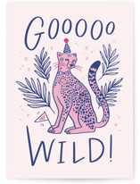This is a pink greeting card by Kristen Smith called Goooo Wild with standard printing on signature in greeting cards.